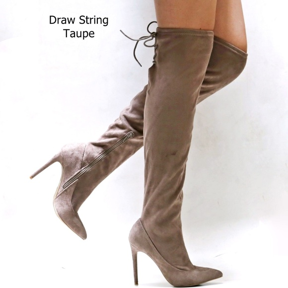 d4694f6d693 Taupe Over Knee Drawstring Stiletto Point Toe Boot